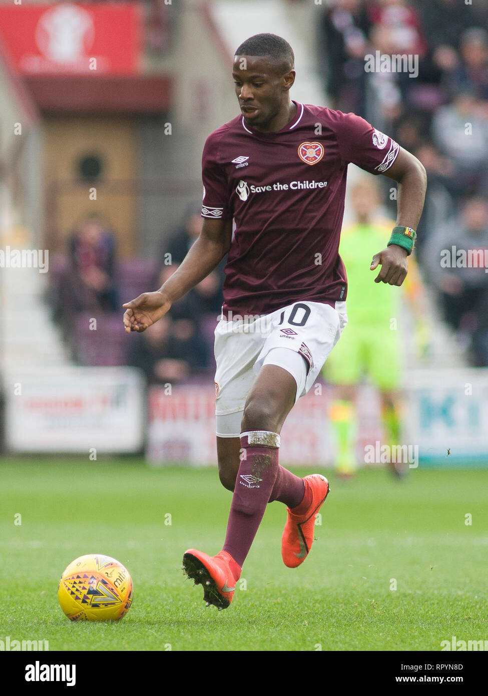 Tynecastle Park, Edinburgh, UK. 23th February 2019. Football. Ladbrokes Premiership league fixture between Hearts and St Mirren; Arnaud Djoum of Hearts  Credit: Scottish Borders Media/Alamy Live News  Editorial use only, license required for commercial use. No use in betting. Stock Photo
