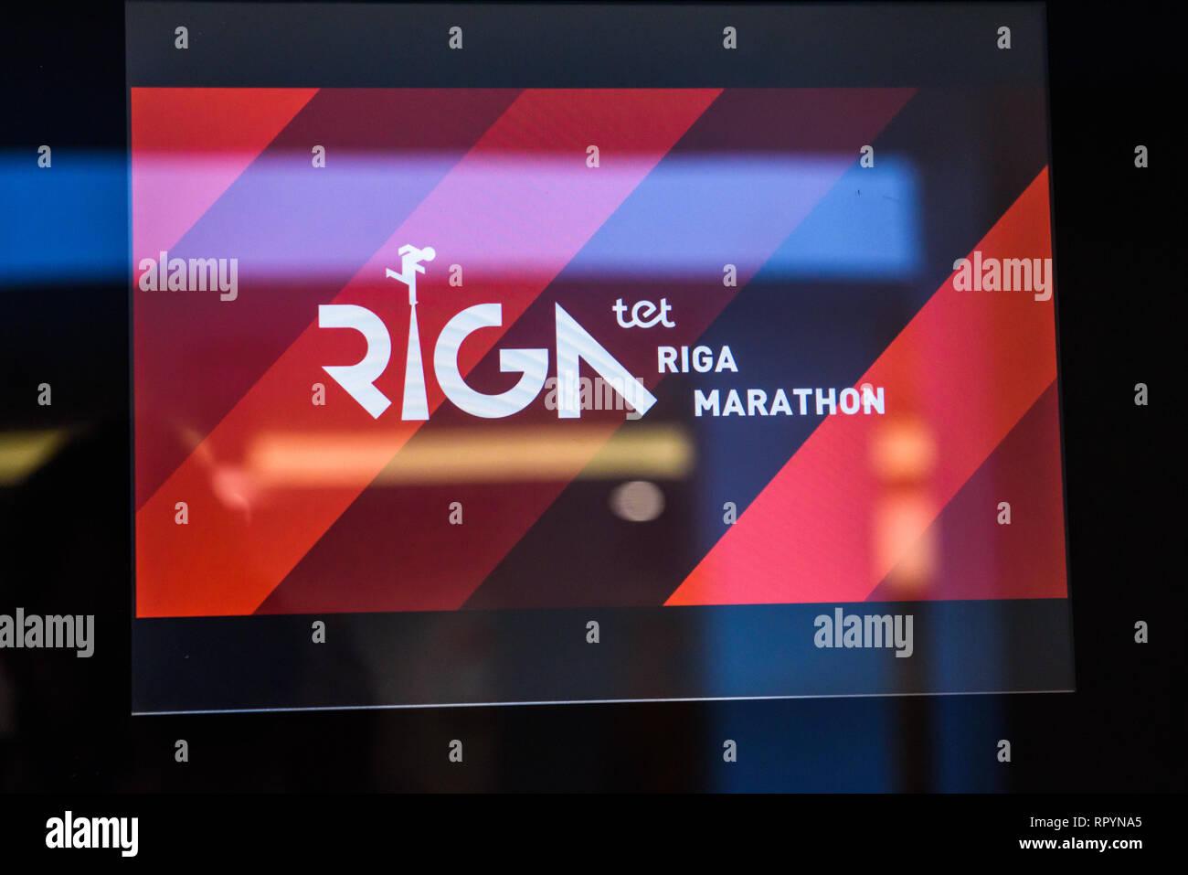23 02 2019  RIGA, LATVIA  Logo of TET RIGA MARATHON, during
