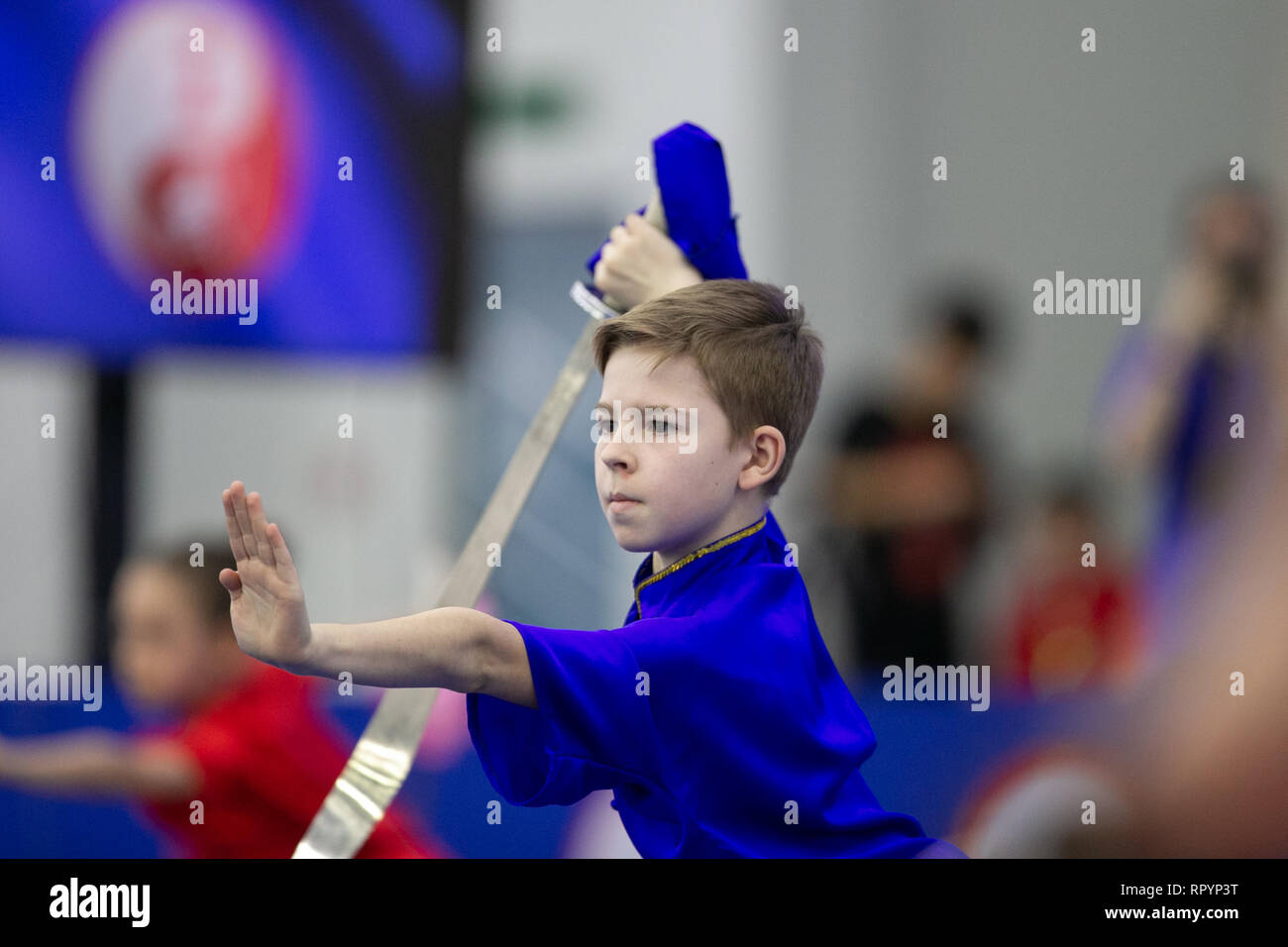 Moscow, Russia. 23rd Feb, 2019. A competitor performs during the opening ceremony for the Moscow Wushu Stars 2019 competition in Moscow, Russia, on Feb. 23, 2019. Credit: Bai Xueqi/Xinhua/Alamy Live News Stock Photo