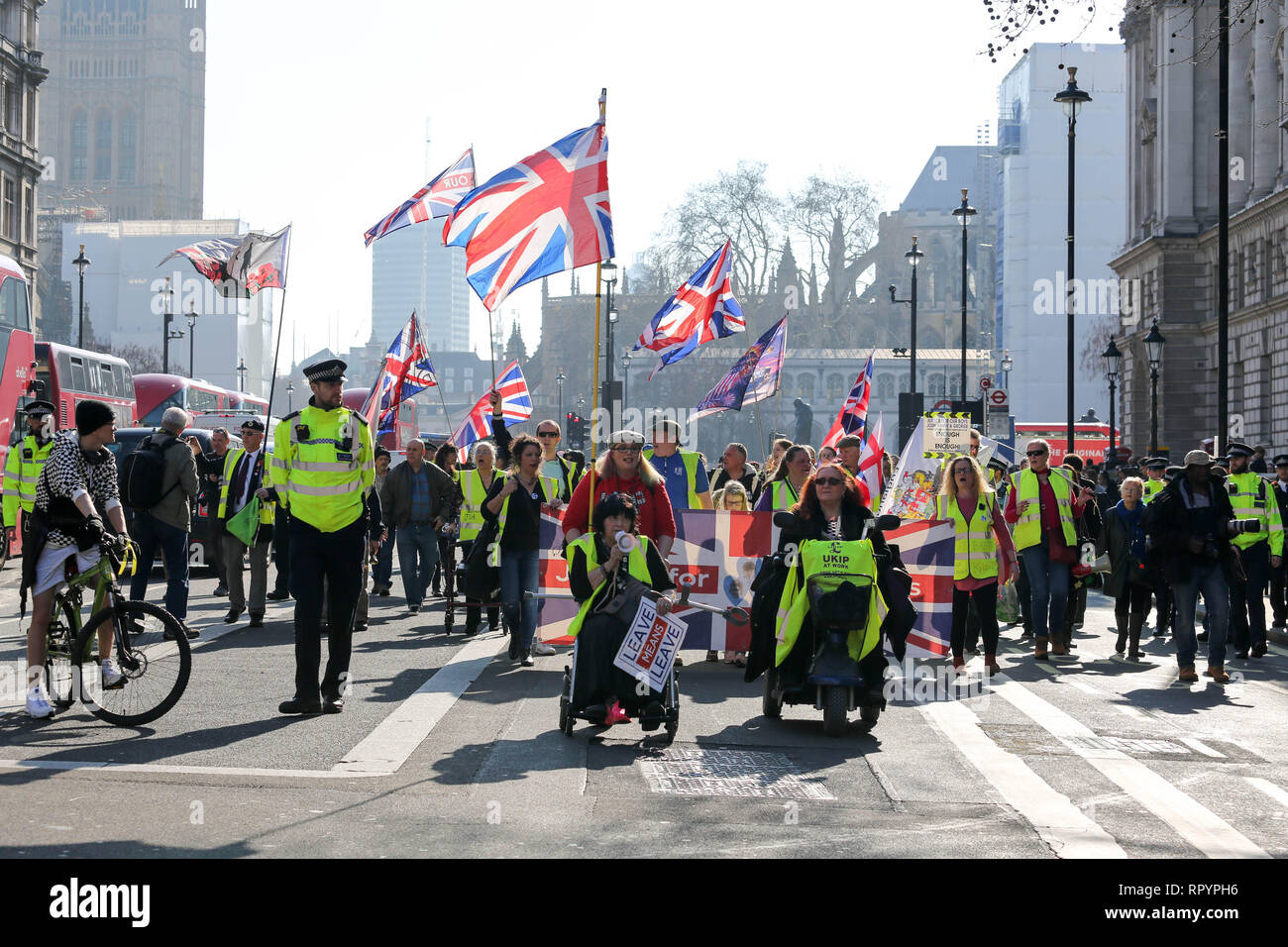 London, UK. 23rd Feb, 2019. Yellow Vest UK meets at Trafalgar Square for a day of action in and around the streets of Westminster. Penelope Barritt/Alamy Live News Stock Photo