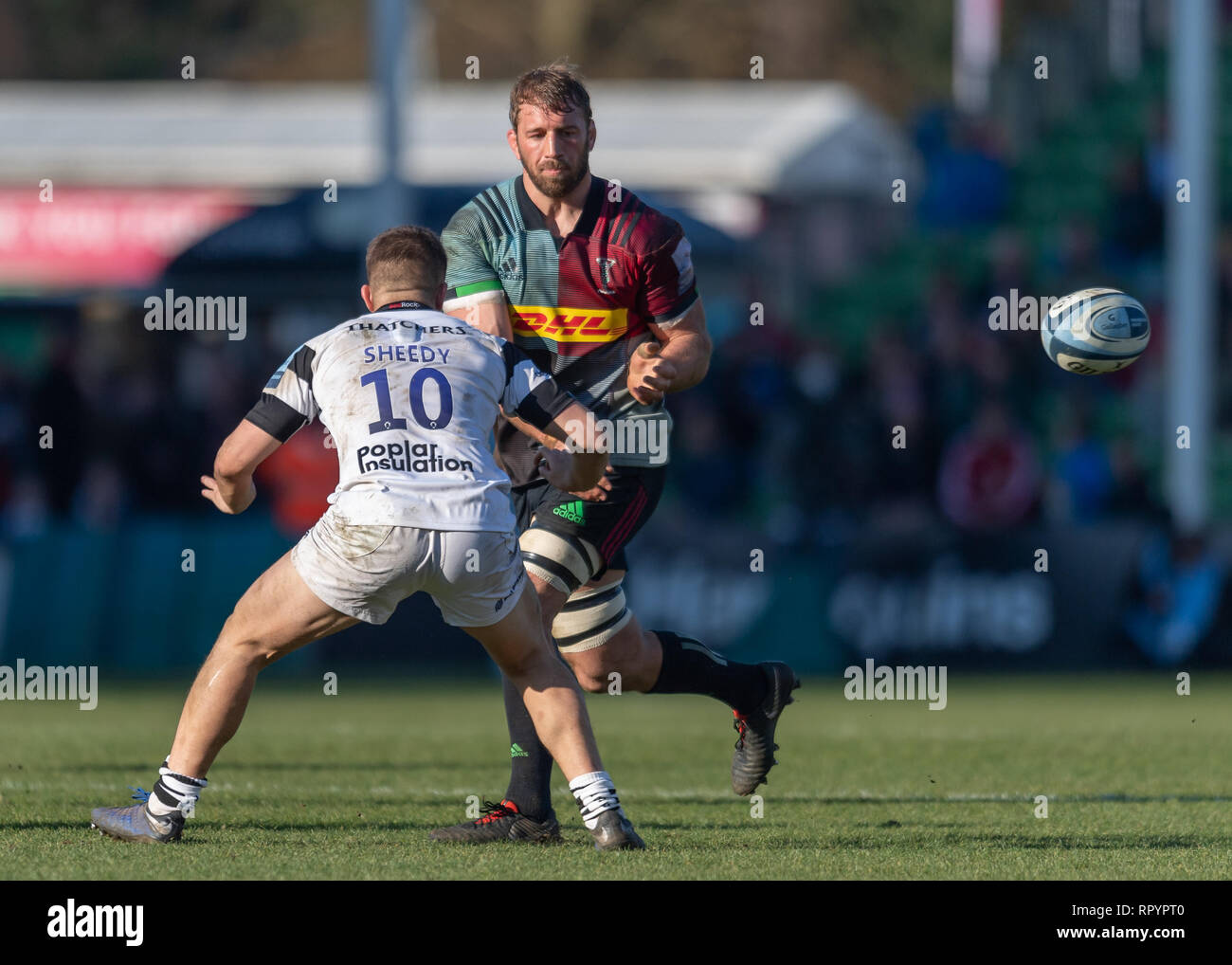 London, UK. 23rd Feb, 2019. Chris Robshaw of Harlequins (CC) in action during Gallagher Premiership match between Harlequins and Bristol Bears at Twickenham Stoop on Saturday, 23 February 2019. LONDON ENGLAND. (Editorial use only, license required for commercial use. No use in betting, games or a single club/league/player publications.) Credit: Taka G Wu/Alamy News Credit: Taka Wu/Alamy Live News Stock Photo