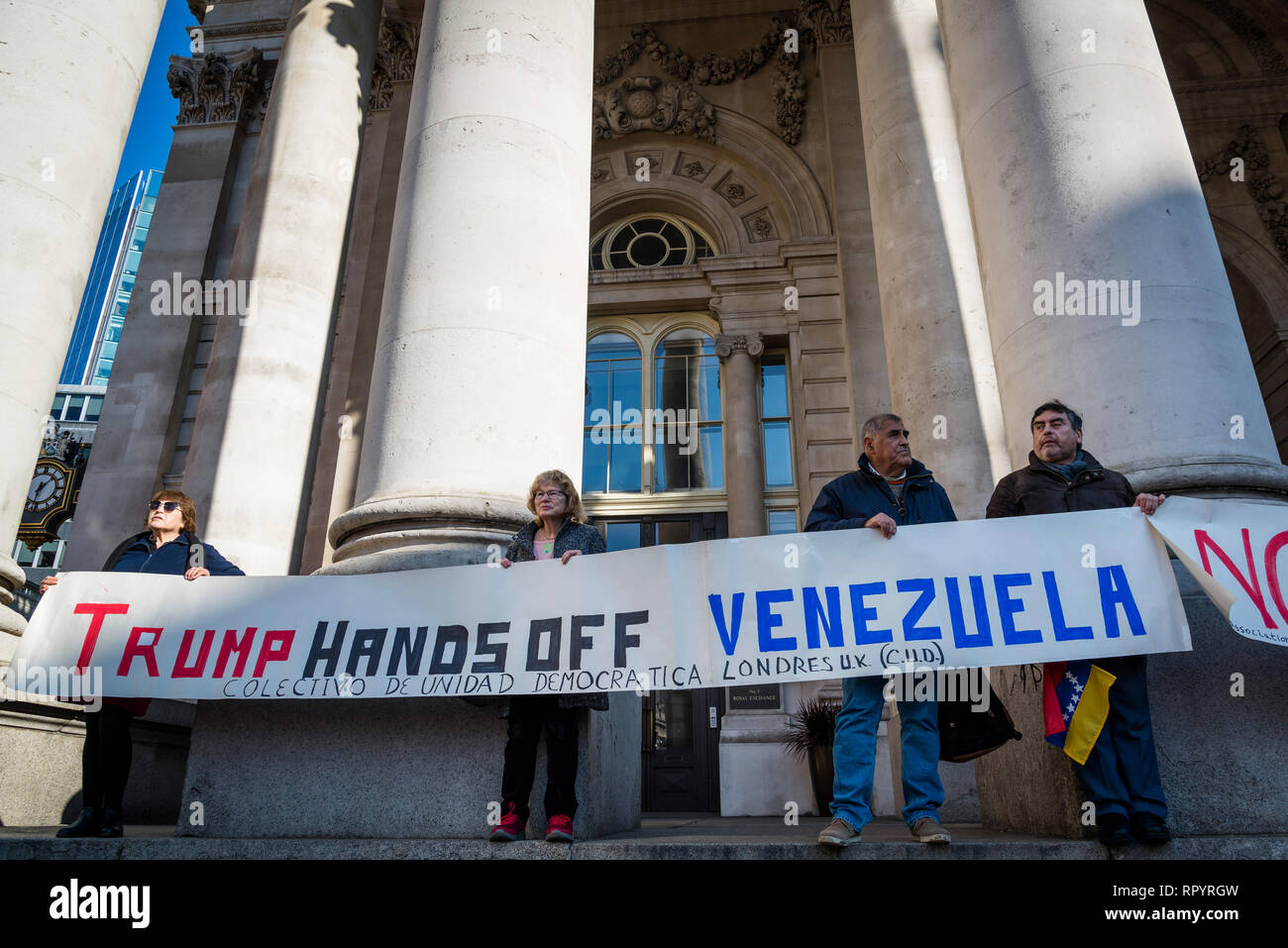 London, UK. 23rd February, 2019. Protest organised by Venezuela Solidarity Campaign in front of the Bank of England demanding that the Bank of England returns the gold to Venezuela, London, UK 23/02/2019 Credit: Bjanka Kadic/Alamy Live News - Stock Image