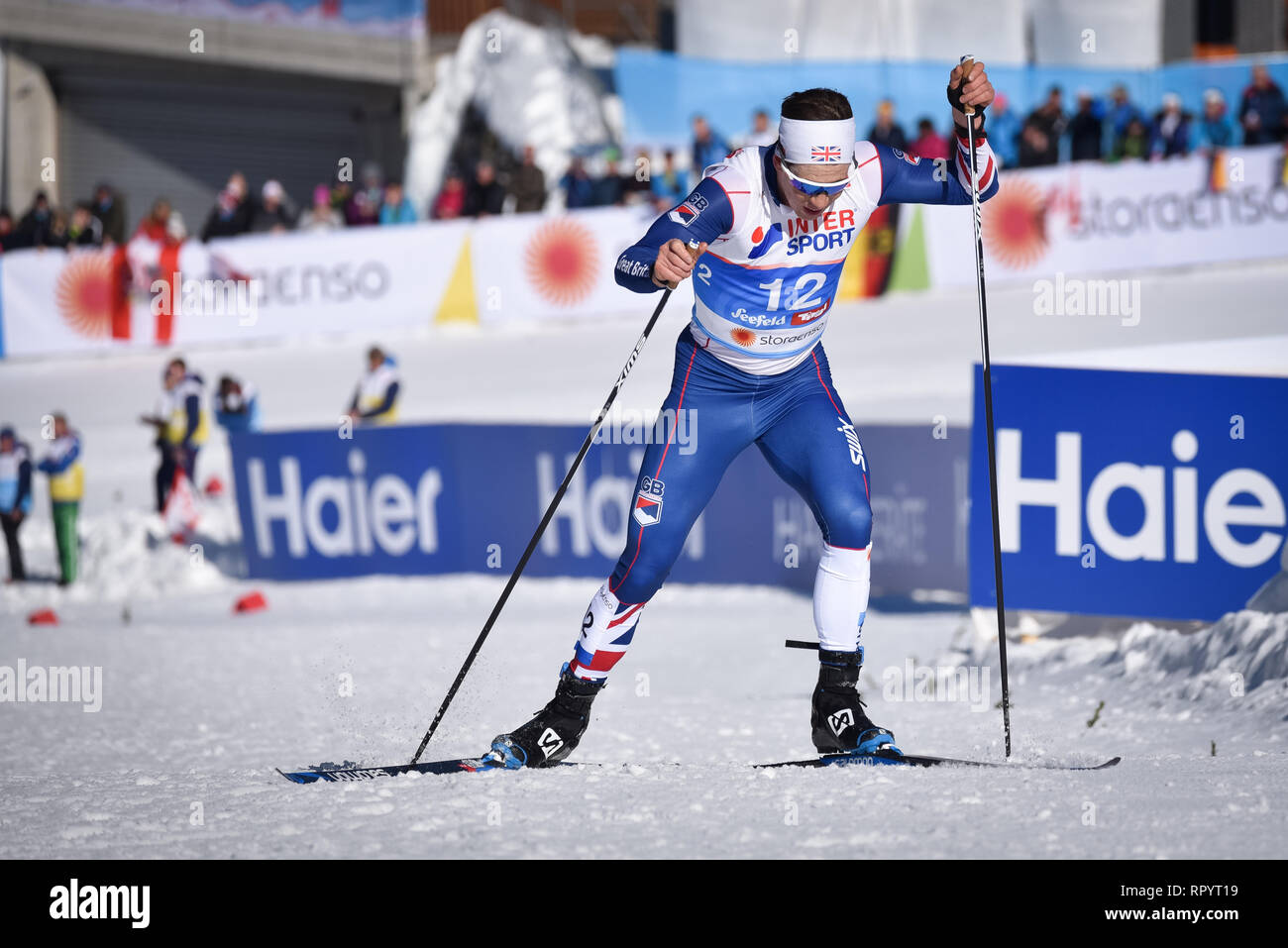 Seefeld, Austria. 23rd Feb, 2019. Andrew Musgrave (#12) of Great Britain en route to a 7th place finish in the nordic world ski championship skiathlon event. Credit: John Lazenby/Alamy Live News - Stock Image