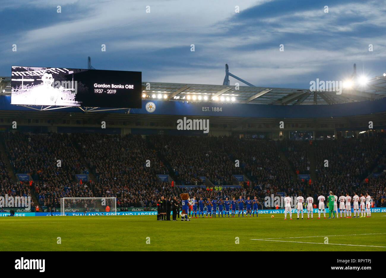 Leicester, UK. 23rd Feb, 2019. In Memory of Gordon Banks during English Premier League between Leicester City and Crystal Palace at King Power stadium, Leicester, England on 23 Feb 2019. Credit: Action Foto Sport/Alamy Live News - Stock Image