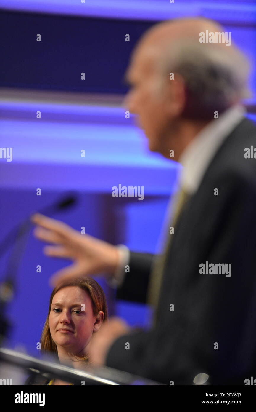 Hamilton, Scotland, UK. 23rd Feb, 2019. Vince Cable - Leader of the Liberal Democrat Party delivers his keynote speech on Brexit, Business and issues around Independence at the Scottish Liberal Democrat Party Spring Conference. Credit: Colin Fisher/Alamy Live News - Stock Image