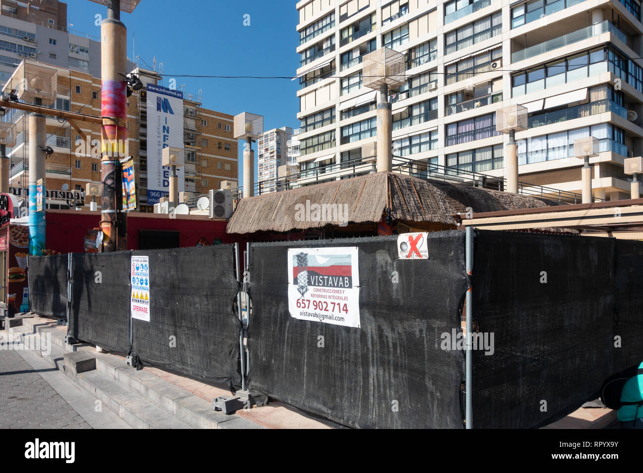 Benidorm, Costa Blanca, Spain, 23rd February 2019. The seafront Tiki Beach Bar on Levante beach, Benidorm is finally closed after much controversy and complaints from local residents. There are no reports as to wether this is a complete closure or just a refurbishment .  Credit: Mick Flynn/Alamy Live News Stock Photo