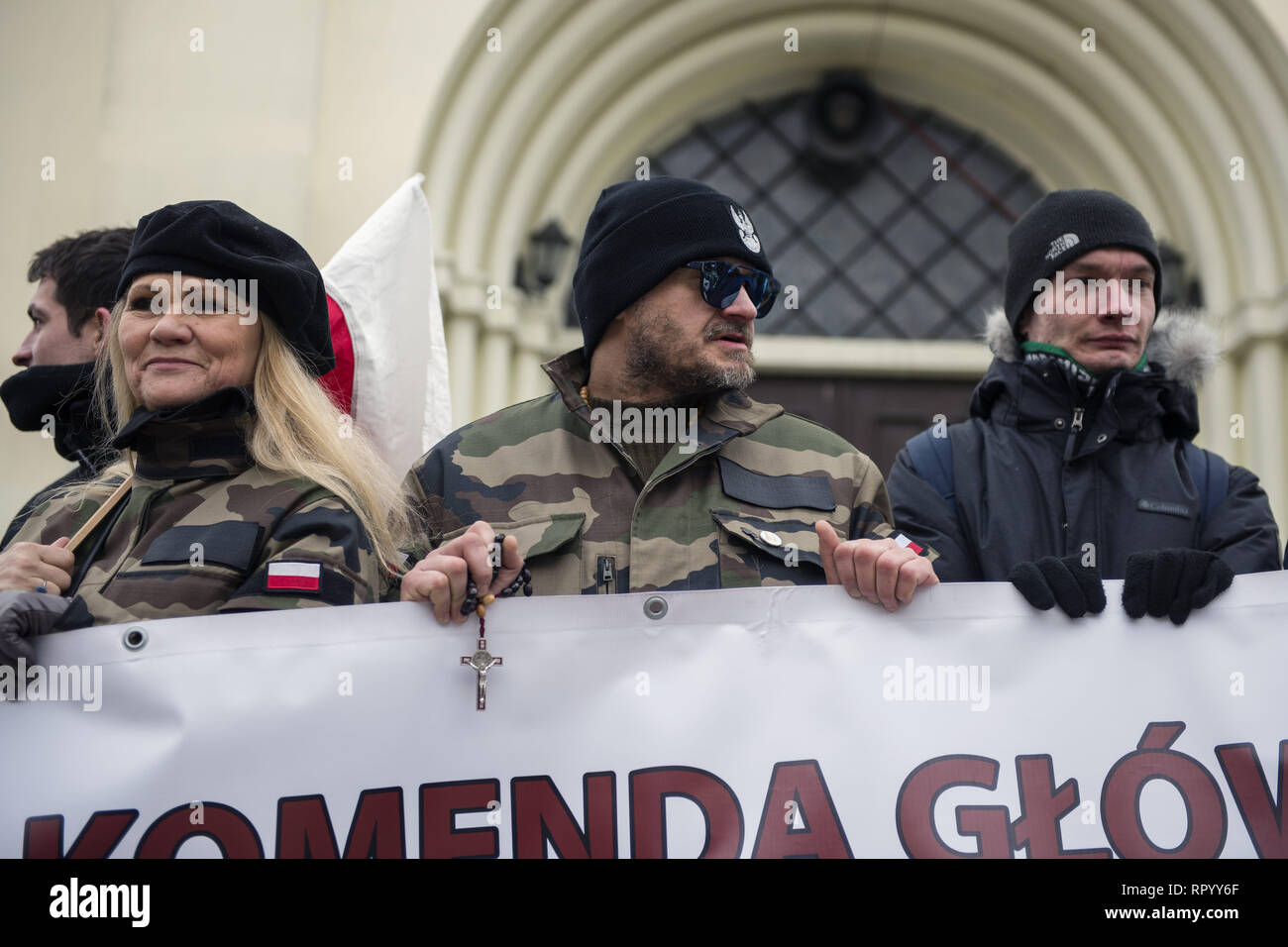 Hajnowka, Poldlaskie, Poland. 23rd Feb, 2019. Nationalists in military clothes are seen during the march.Polish nationalists organized a commemorative march of the 'Cursed Soldiers'' in the city of Hajnowka next to the Belarusian border. The Cursed Soldiers also known as the Doomed Soldiers were anti-communist resistant fighters after WWII, however they were also famous of committing crimes against civilians, mostly ethnic Belarusians. Credit: Attila Husejnow/SOPA Images/ZUMA Wire/Alamy Live News - Stock Image