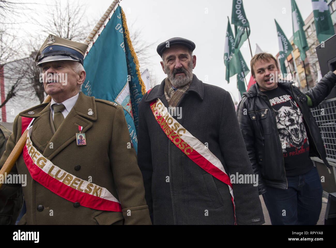 Hajnowka, Poldlaskie, Poland. 23rd Feb, 2019. Nationalists marching to commemorate the Cursed Soldiers.Polish nationalists organized a commemorative march of the 'Cursed Soldiers'' in the city of Hajnowka next to the Belarusian border. The Cursed Soldiers also known as the Doomed Soldiers were anti-communist resistant fighters after WWII, however they were also famous of committing crimes against civilians, mostly ethnic Belarusians. Credit: Attila Husejnow/SOPA Images/ZUMA Wire/Alamy Live News - Stock Image