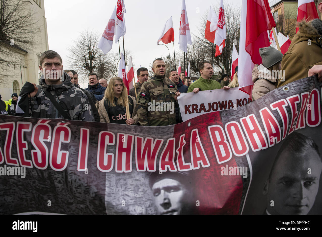 Hajnowka, Poldlaskie, Poland. 23rd Feb, 2019. Polish nationalists seen marching to commemorate the Cursed Soldiers.Polish nationalists organized a commemorative march of the 'Cursed Soldiers'' in the city of Hajnowka next to the Belarusian border. The Cursed Soldiers also known as the Doomed Soldiers were anti-communist resistant fighters after WWII, however they were also famous of committing crimes against civilians, mostly ethnic Belarusians. Credit: Attila Husejnow/SOPA Images/ZUMA Wire/Alamy Live News - Stock Image