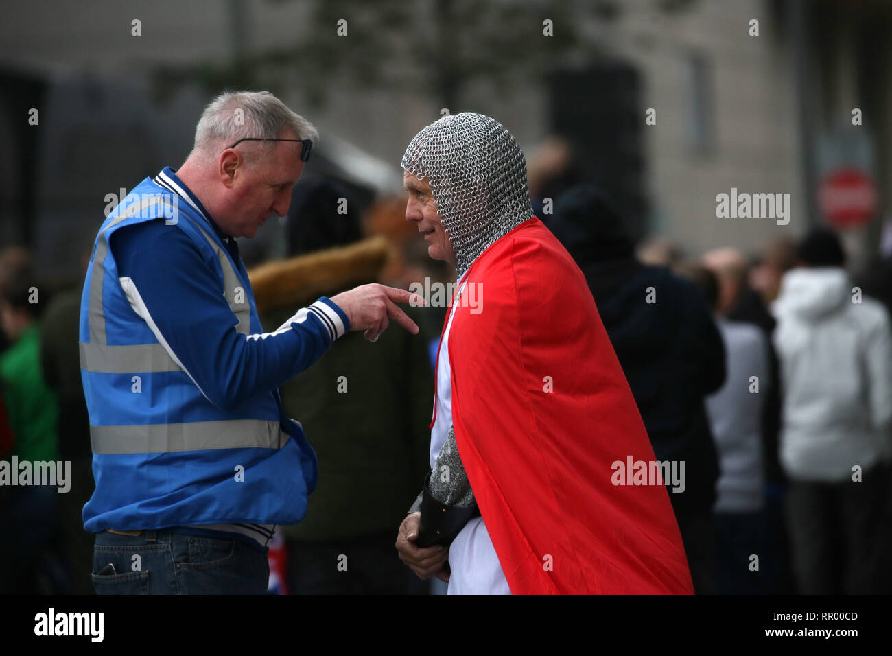 Manchester, UK. 23rd Feb, 2019. Around 4000 Tommy Robinson supporters gather to hear the former EDL leader speak and show a documentary which he says is an expose on the BBC. Media City, Salford, UK, 23rd February 2019 (C)Barbara Cook/Alamy Live News Credit: Barbara Cook/Alamy Live News Credit: Barbara Cook/Alamy Live News - Stock Image