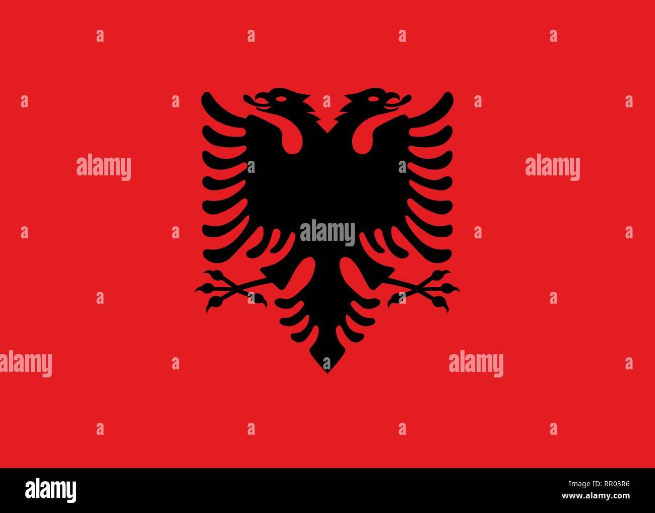 Albania national flag. Vector illustration. Tirana - Stock Vector