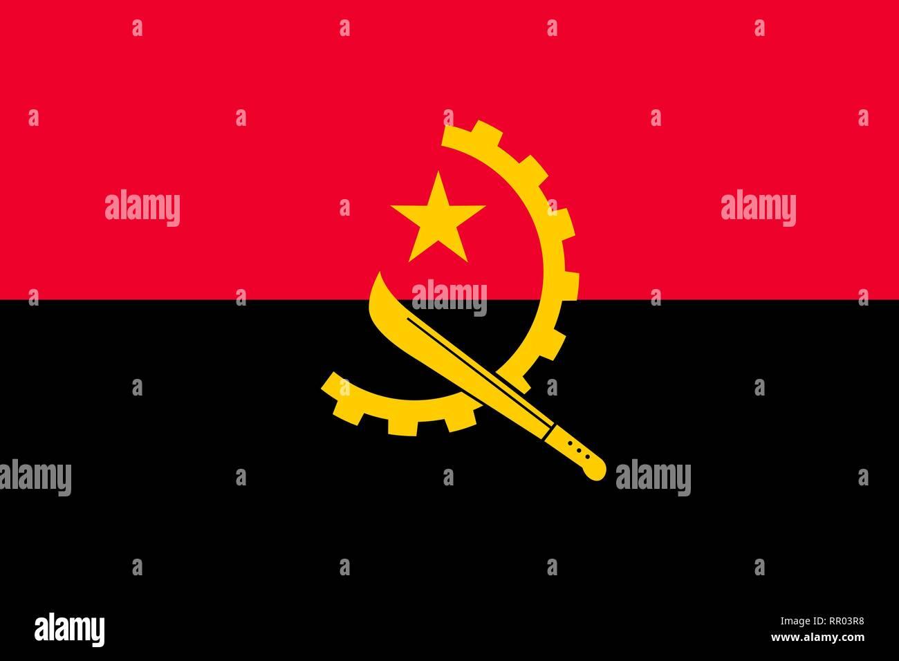 Angola national flag. Vector illustration. Luanda - Stock Vector
