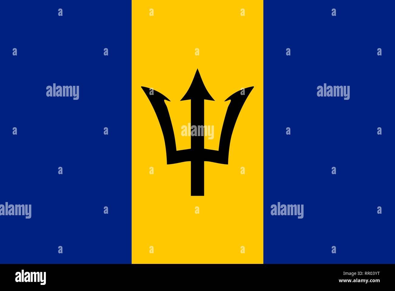 Barbados vector flag. Bridgetown - Stock Vector
