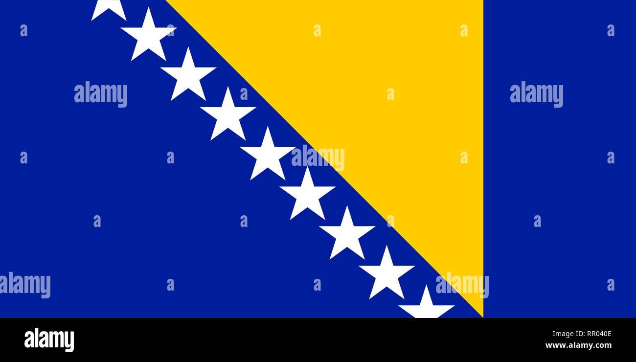 Bosnia and Herzegovina vector flag. Sarajevo - Stock Vector