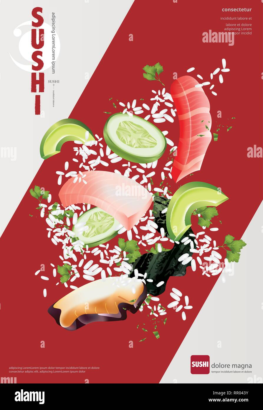 Poster Of Sushi Restaurant Vector Illustration Stock Vector Image Art Alamy