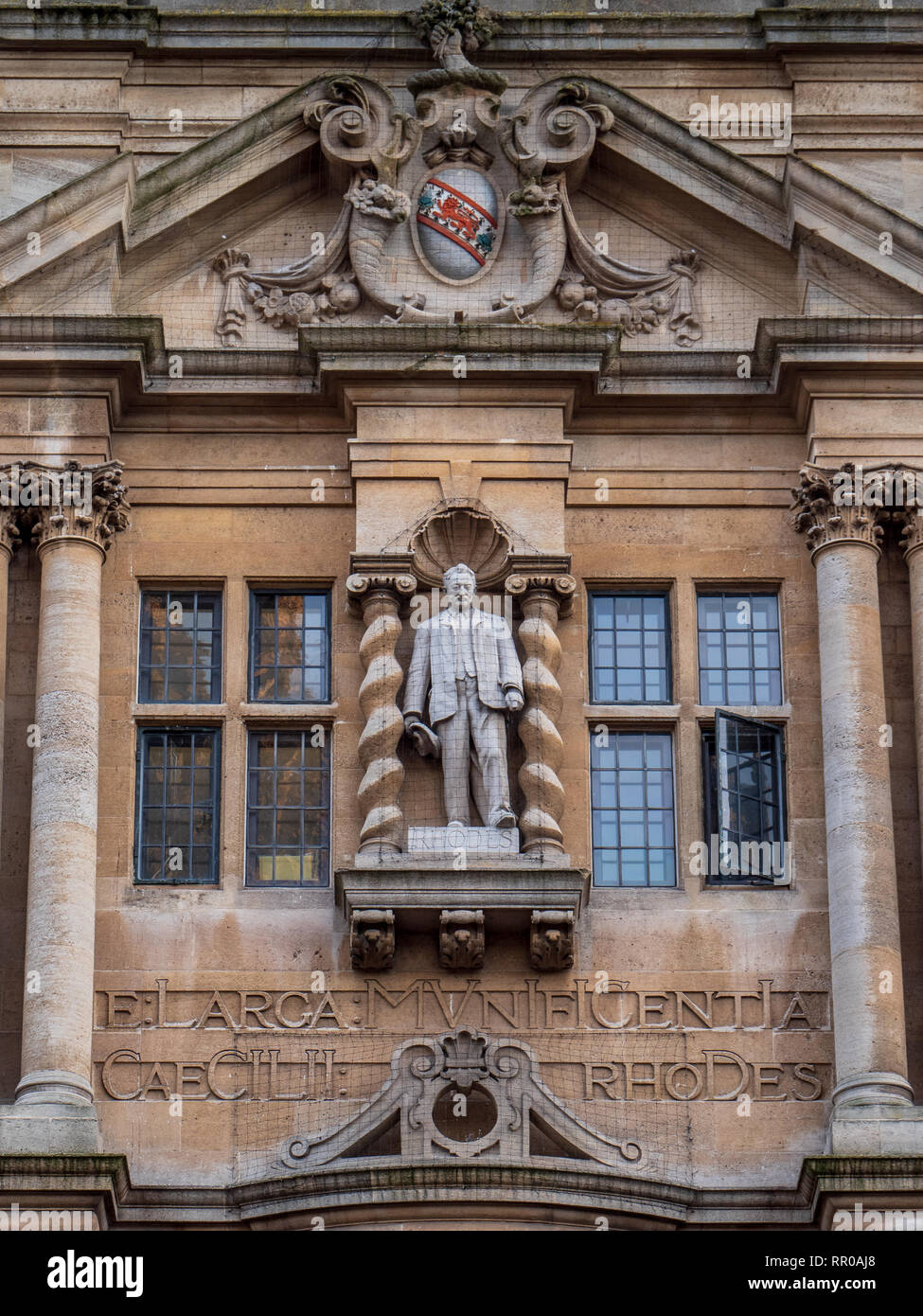 Cecil Rhodes Statue Oxford - the controversial statue of Cecil Rhodes on the Oriel College building in central Oxford UK - Stock Image