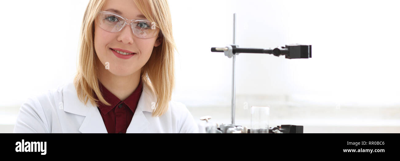 Smiling beautiful technician woman portrait - Stock Image