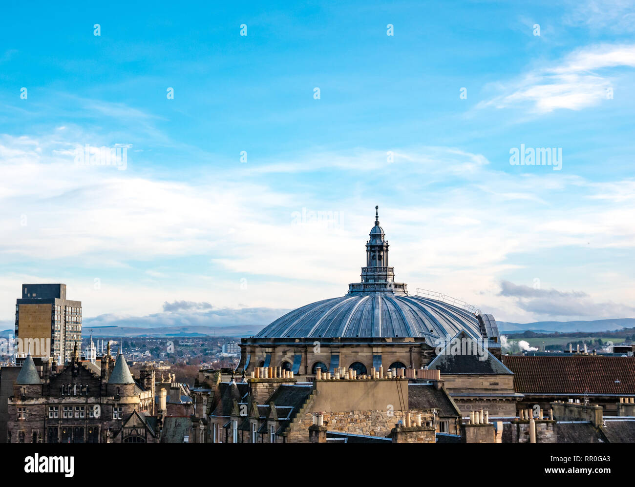 View over rooftops and chimneys, McEwan Hall dome roof, Edinburgh city centre, Scotland, UK - Stock Image