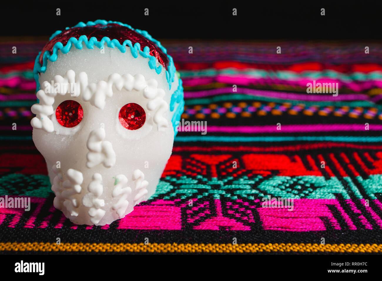 sugar skulls used for 'dia de los muertos' celebration in mexico - Stock Image