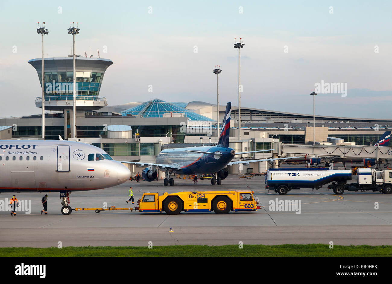 View of the Terminal D of Sheremetyevo airport and Aeroflot airline aircrafts in Moscow, Russia - Stock Image