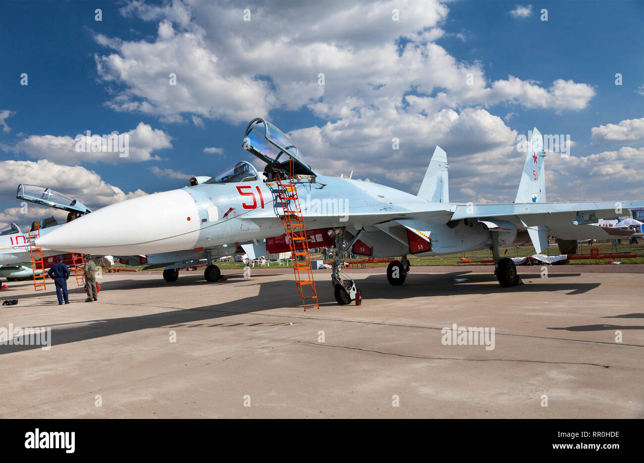 Russian multipurpose highly maneuverable all-weather fighter of the fourth generation SU-27SM3 at the exposition of MAKS 2011, Zhukovsky, Russia - Stock Image