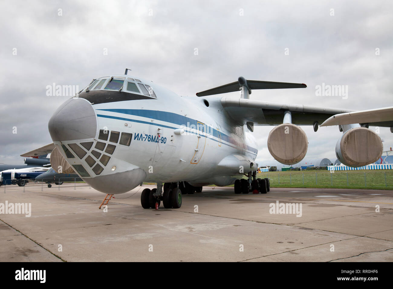 Soviet medium military transport aircraft IL-76MD-90 at the air show MAKS-2011 in Zhukovsky, Moscow region, Russia Stock Photo