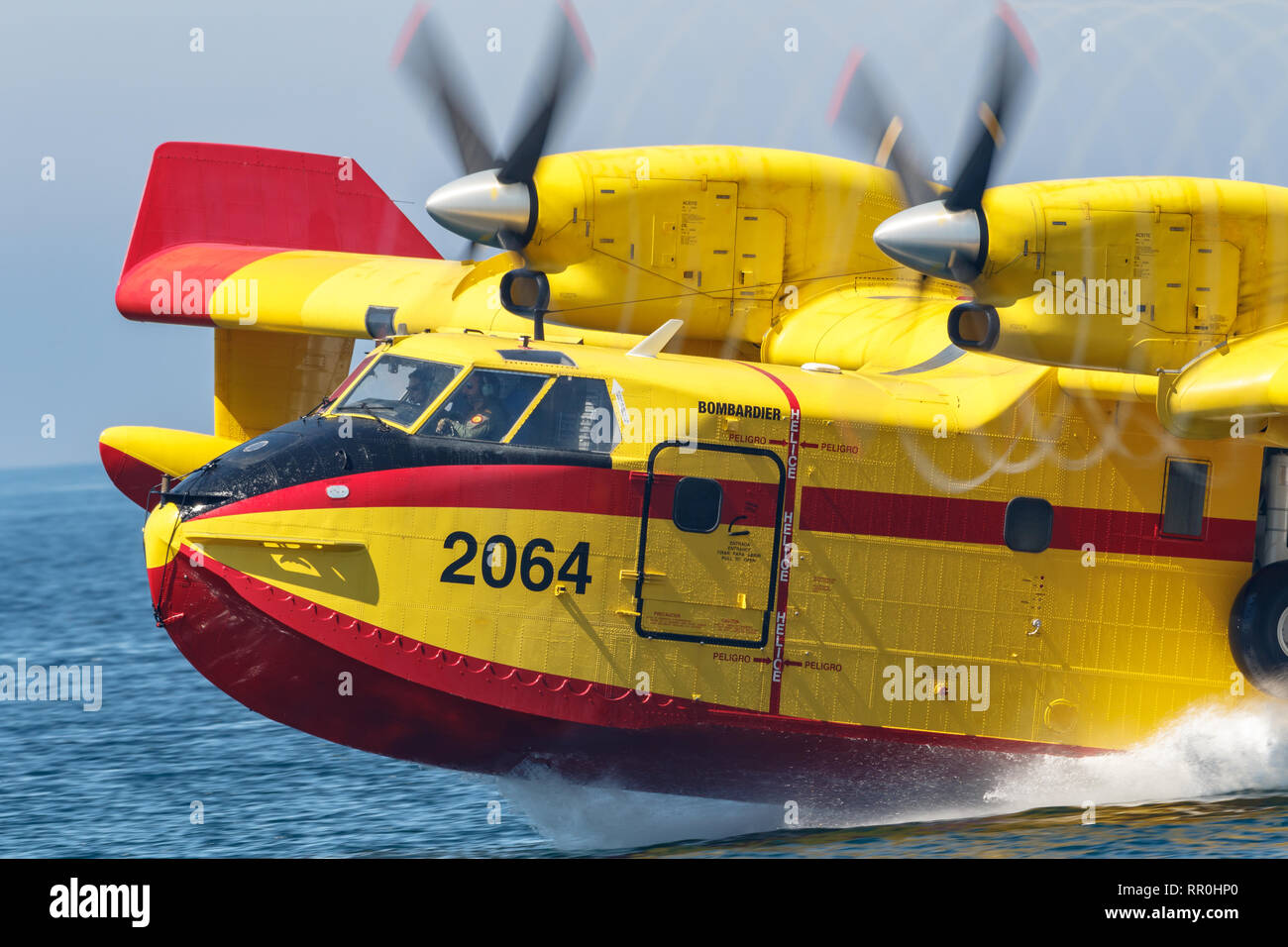 MOTRIL, GRANADA,  SPAIN-JUN 16:  Seaplane Canadair CL-415  taking part in an exhibition on the 13th airshow of Motril on June 16, 2018, in Motril, Gra - Stock Image