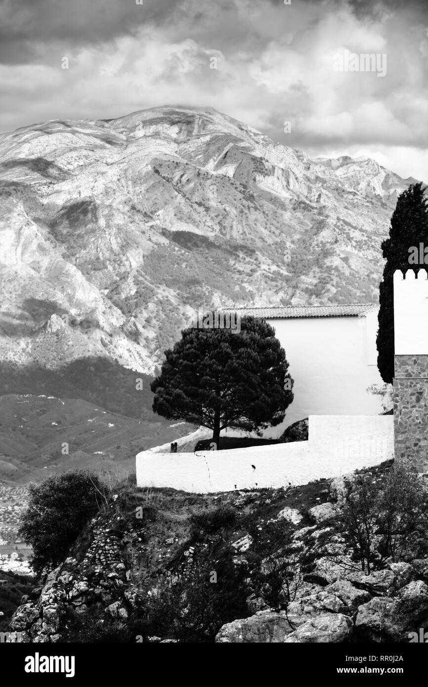 Cemetery, Comares, Black and White fine art landscape images of the Axarquia Region of Andalucia, Malaga, Spain - Stock Image