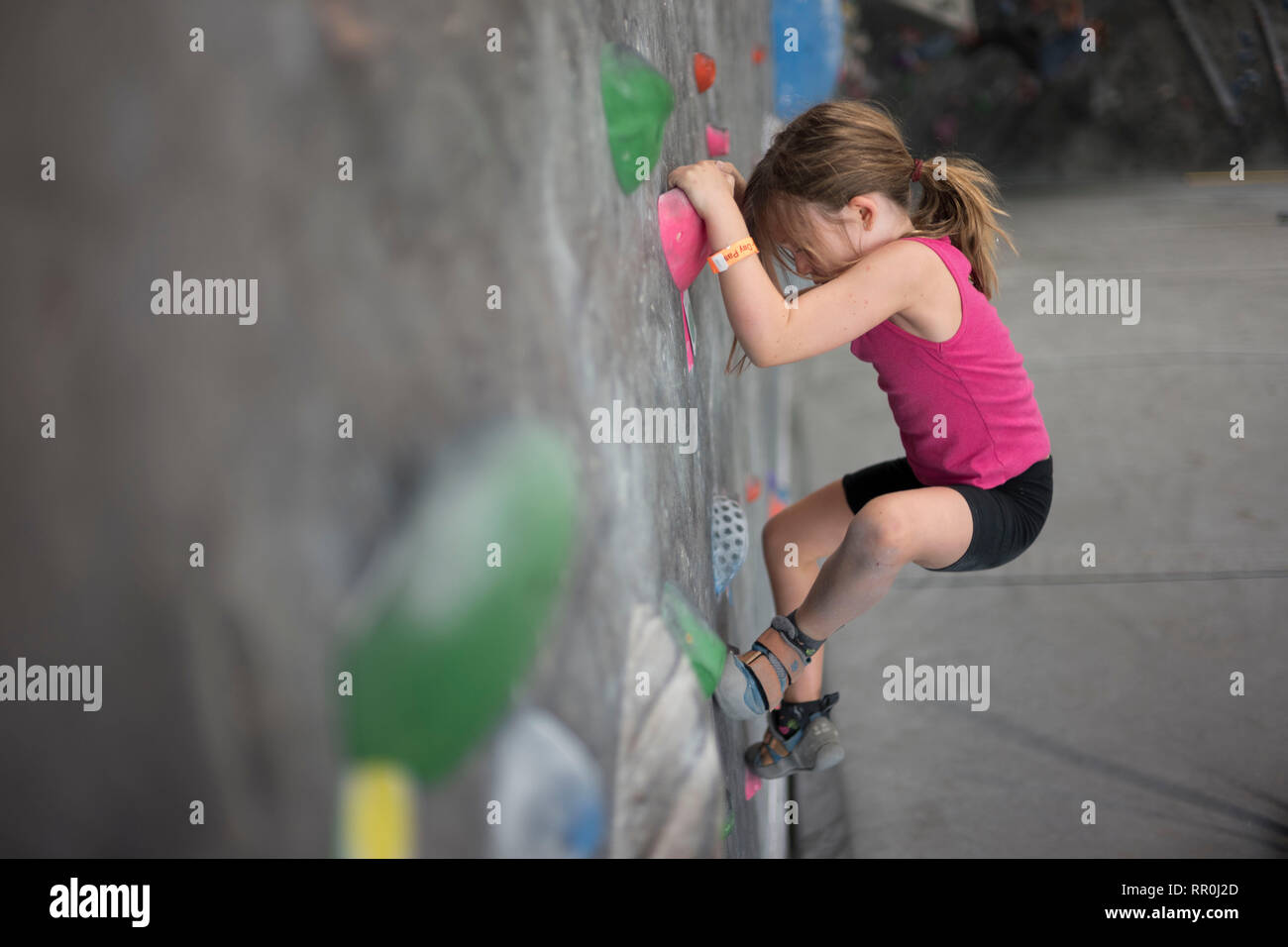 Young Girl climbing at indoor climbing gym - Stock Image