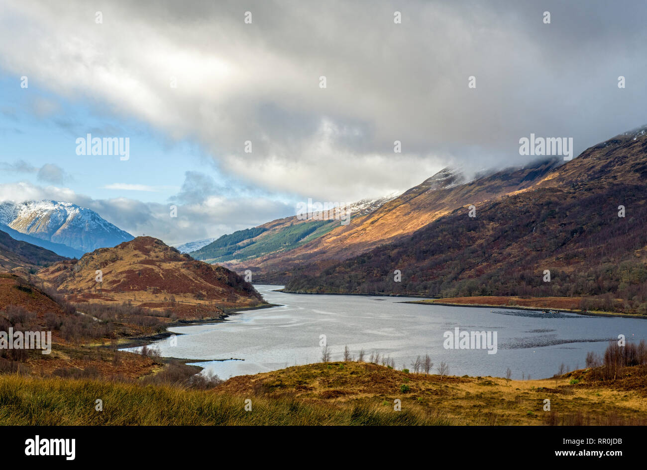 Looking down Loch Leven from near Kinlochleven Scotland with the mountains and glens in view. - Stock Image
