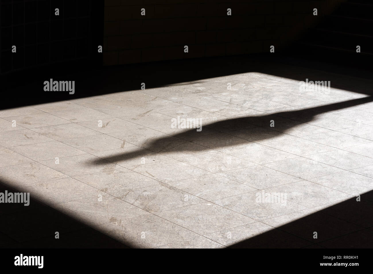 A shadow of a single person on a tiled floor - Stock Image