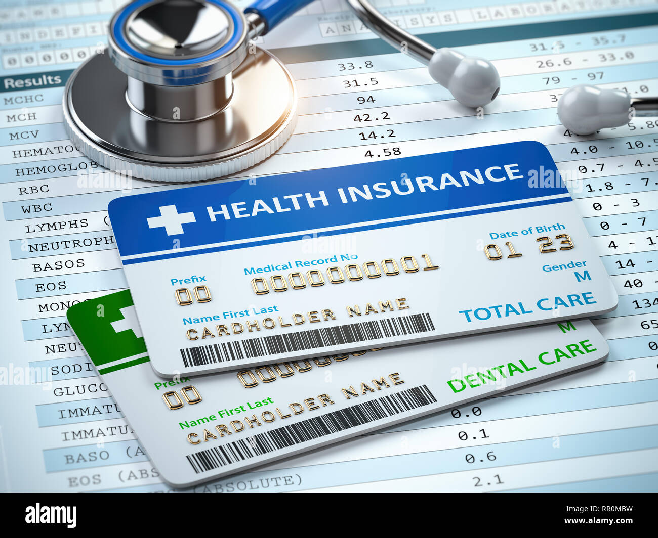 Health Insurance cards total and dental care with stethscope. 3d illustration - Stock Image