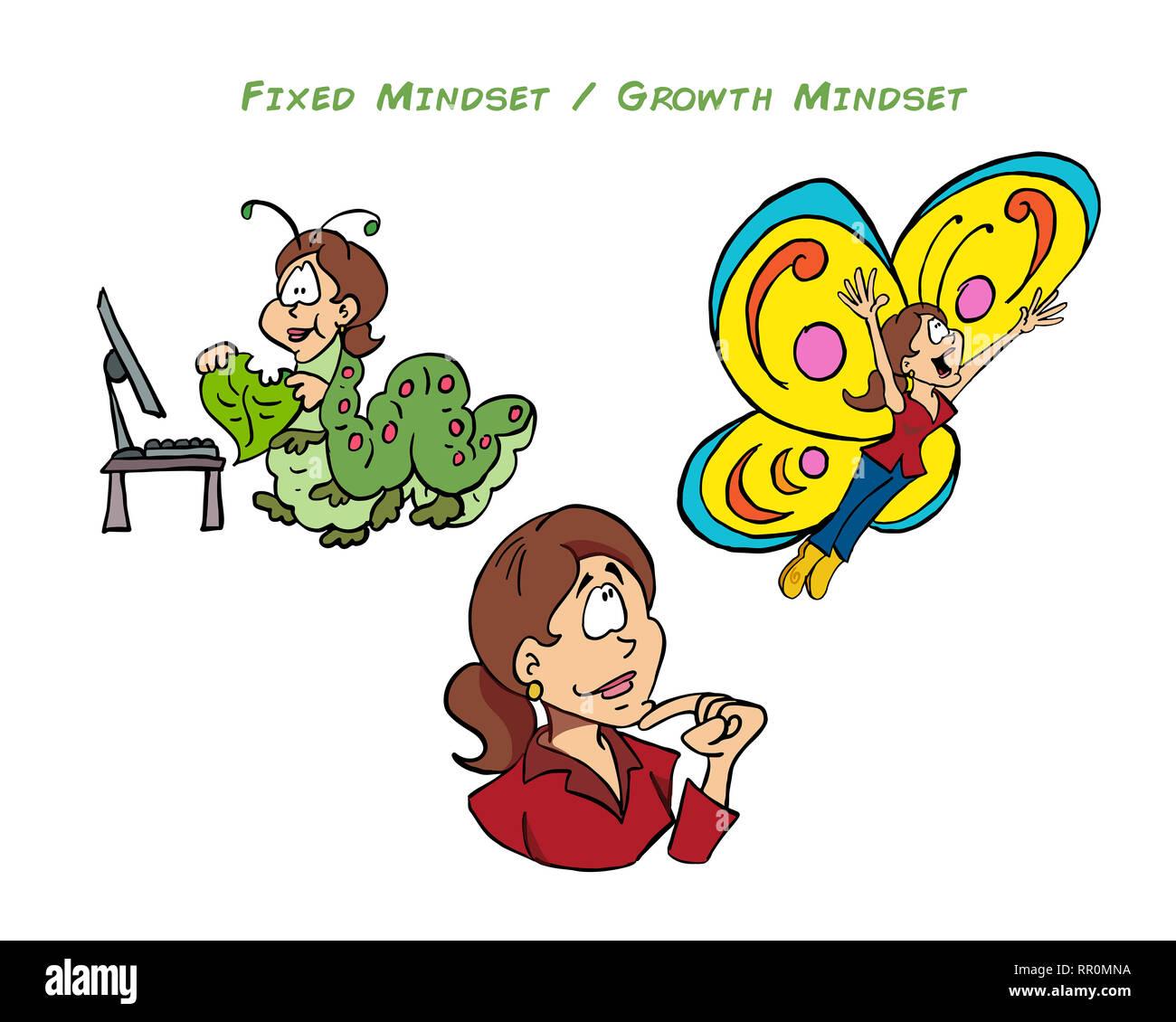 Growth mindset and fixed mindset - Sophie - Stock Image
