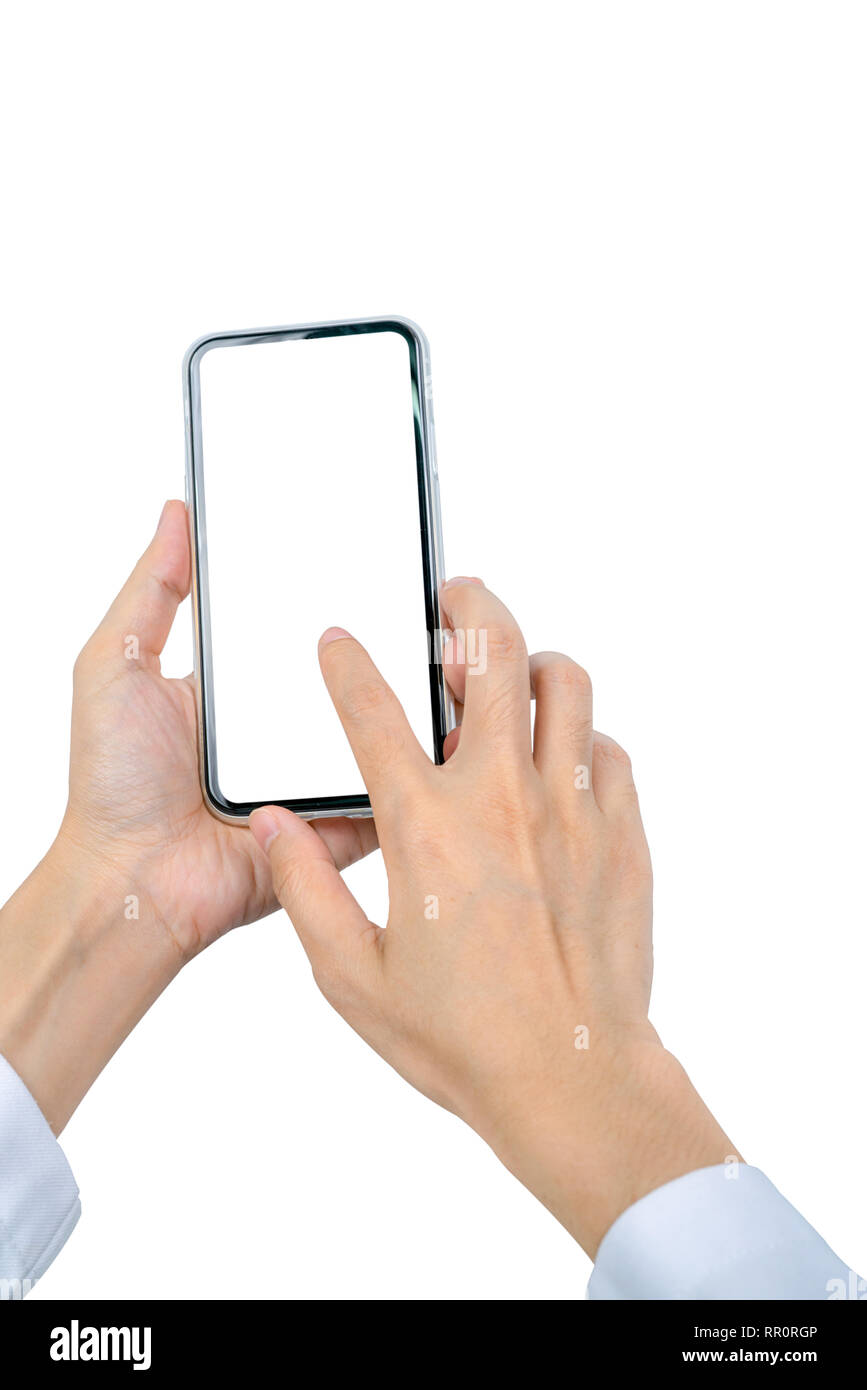 Woman's hand holding and using smartphone. Closeup hand touching smartphone with blank screen isolated on white background and copy space for text. Mo - Stock Image