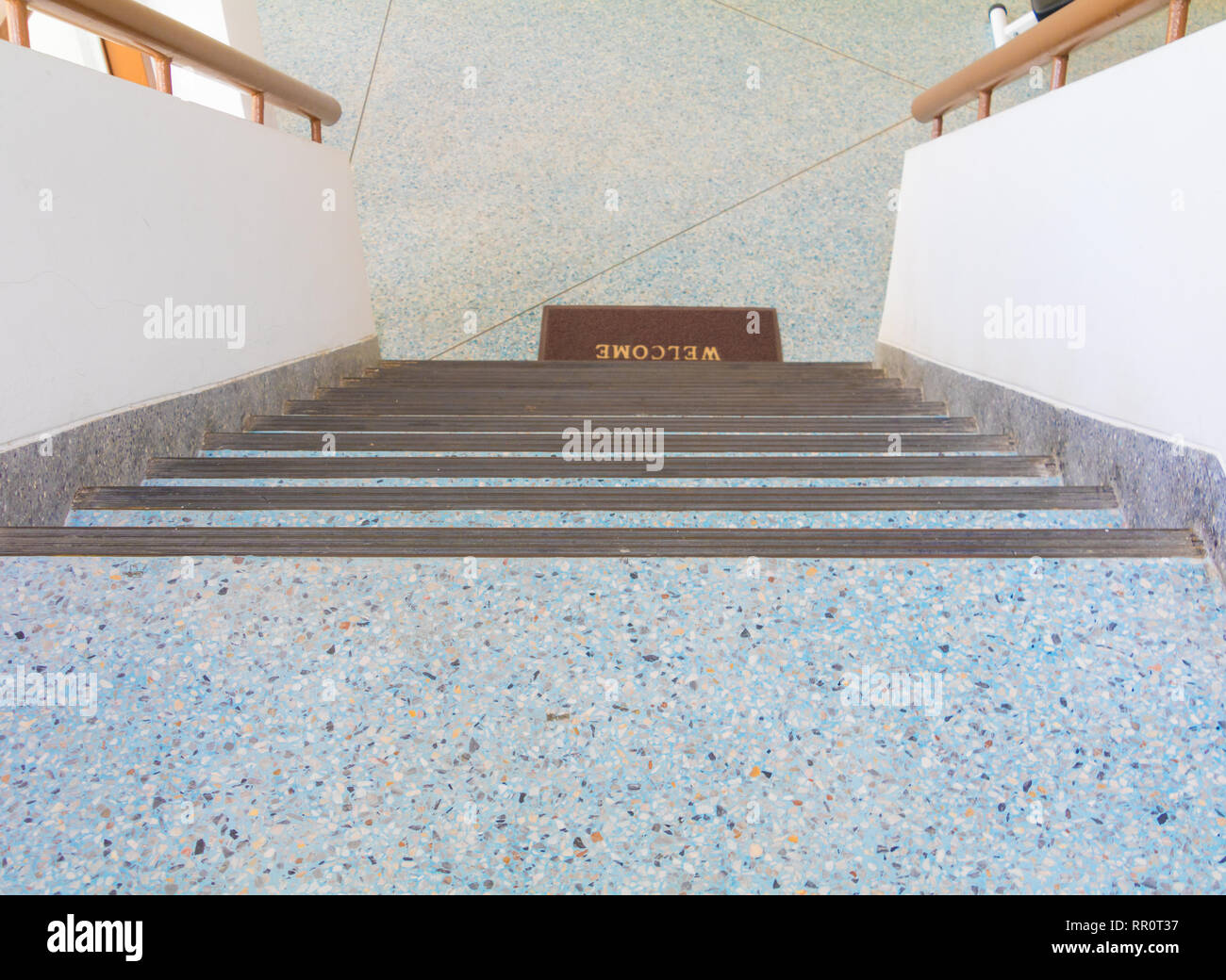 Stairs Blue Old Terrazzo Floor Walkway Down Inside The