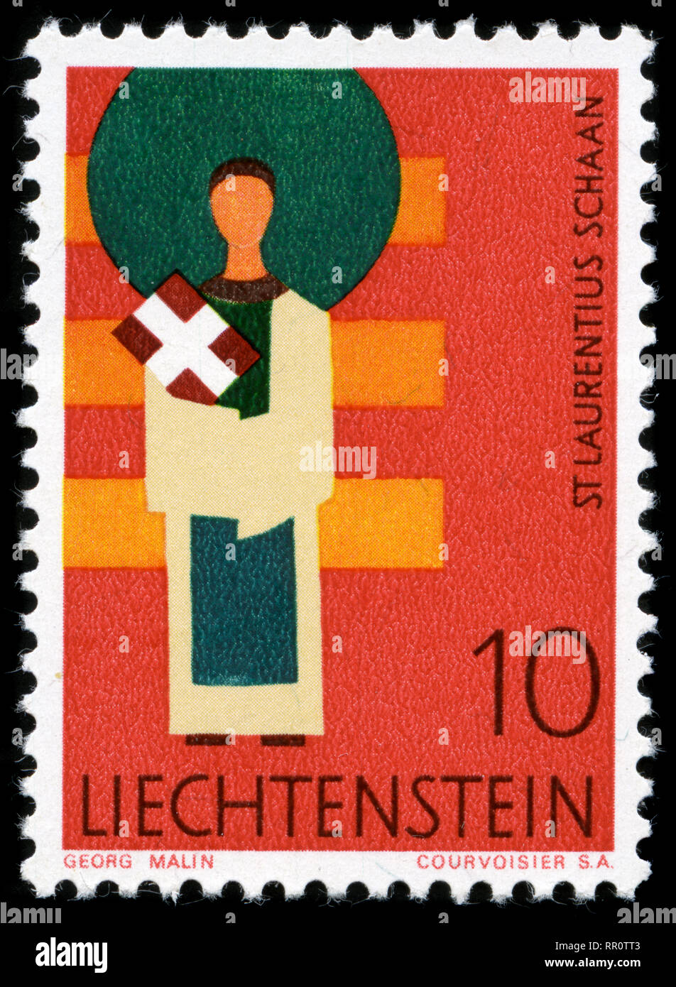 Postage stamp from Liechtenstein in the Patrons of the eleven municipalities of the Principality series issued in 1968 Stock Photo