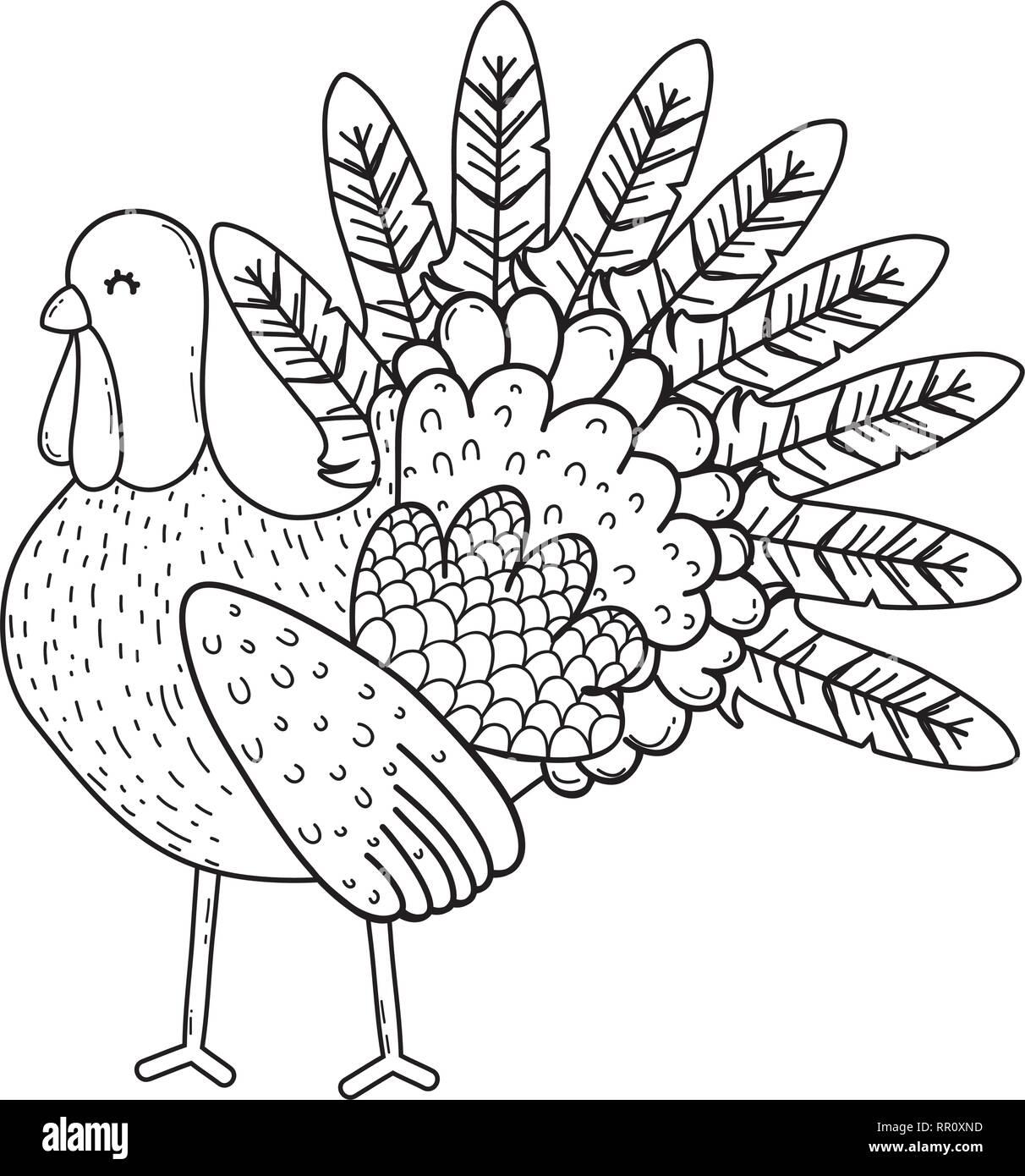 animal turkey cartoon - Stock Vector