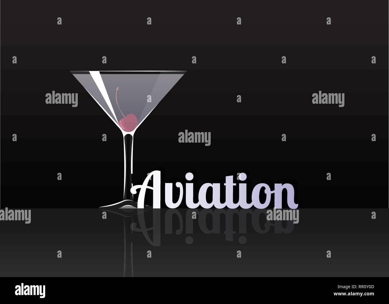Official cocktail icon, The Unforgettable Aviation cartoon illustration for bar or restoration  alcohol menu in elegant style on mirrored surface. - Stock Image