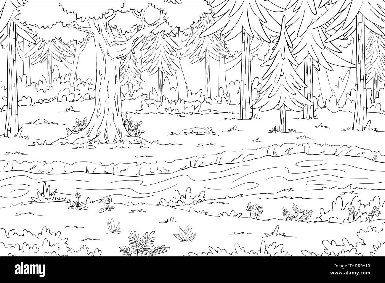 Coloring book landscape. Hand draw vector illustration with separate ...