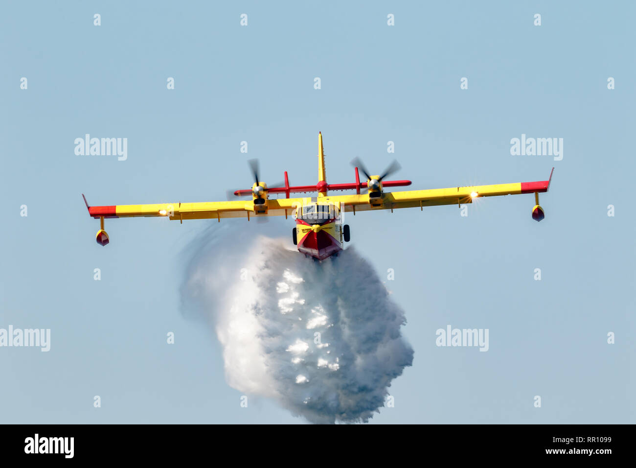 MOTRIL, GRANADA,  SPAIN-JUN 17:  Seaplane Canadair CL-415  taking part in an exhibition on the 13th airshow of Motril on June 17, 2018, in Motril, Gra - Stock Image