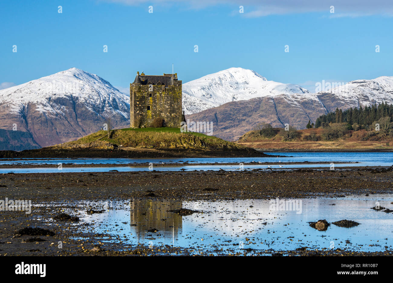 Castle Stalker on Loch Laich on a bright and sunny winter day, Scottish Highlands - Stock Image