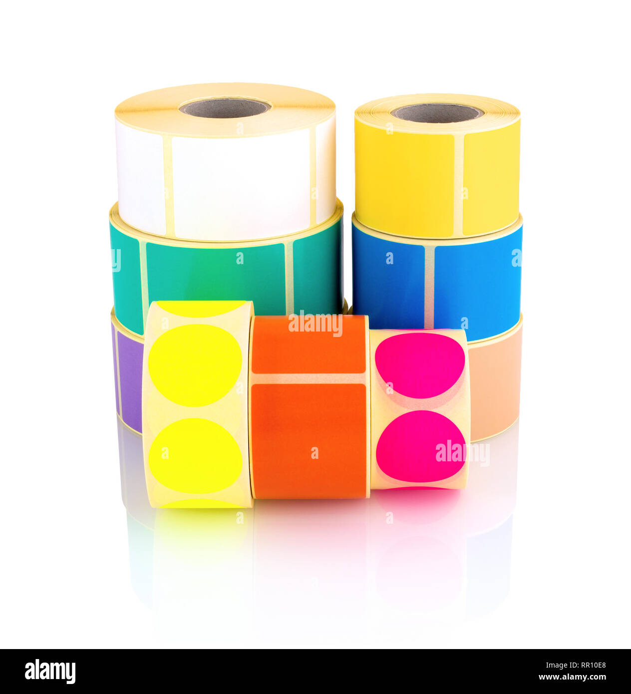 Colored label rolls isolated on white background with shadow