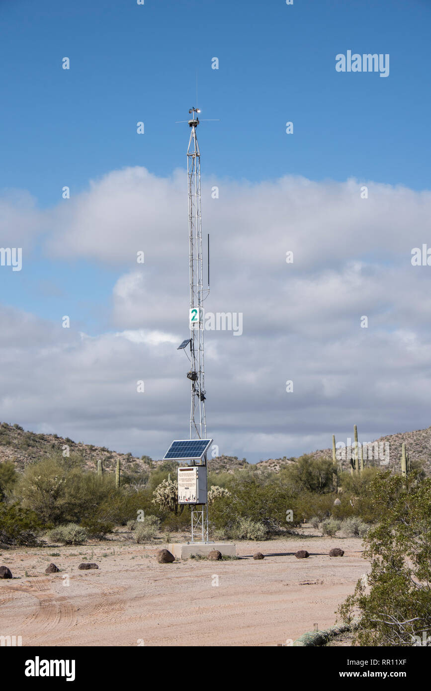 Emergency Tower for visitor safety at Organ Pipe Cactus National Monument, South Central Arizona - Stock Image