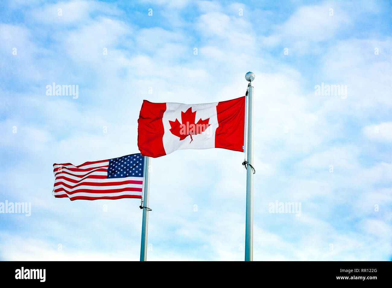 American Canadian Flags Stock Photos & American Canadian