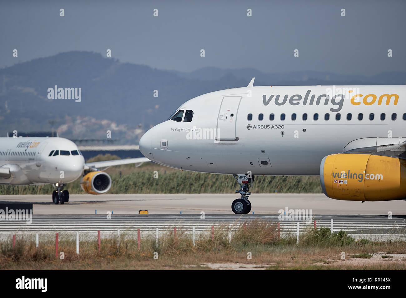 Multiple Vueling airbus passenger jets in Barcelona - Stock Image