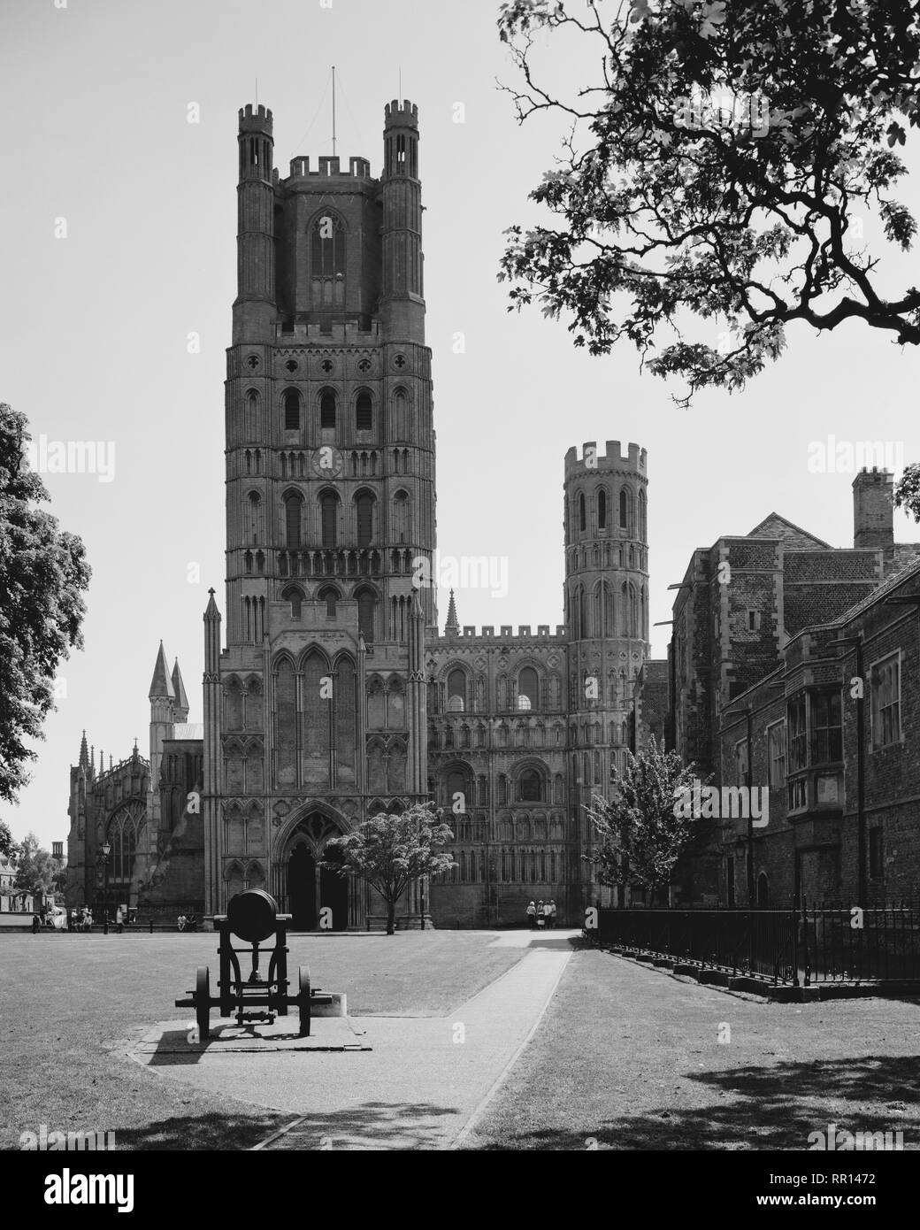 Cannon in front of the West Tower Ely Cathedral Cambridgeshire Stock Photo