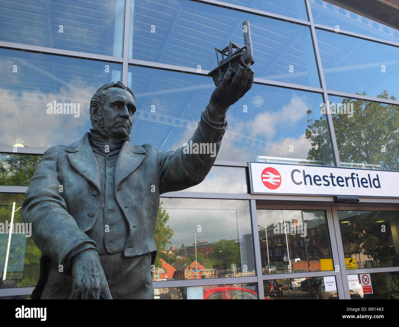 Statue of railway Pioneer George Stephenson outside Chesterfield Railway Station. A Northumbrian by birth, he came to settle and died in the town. Stock Photo