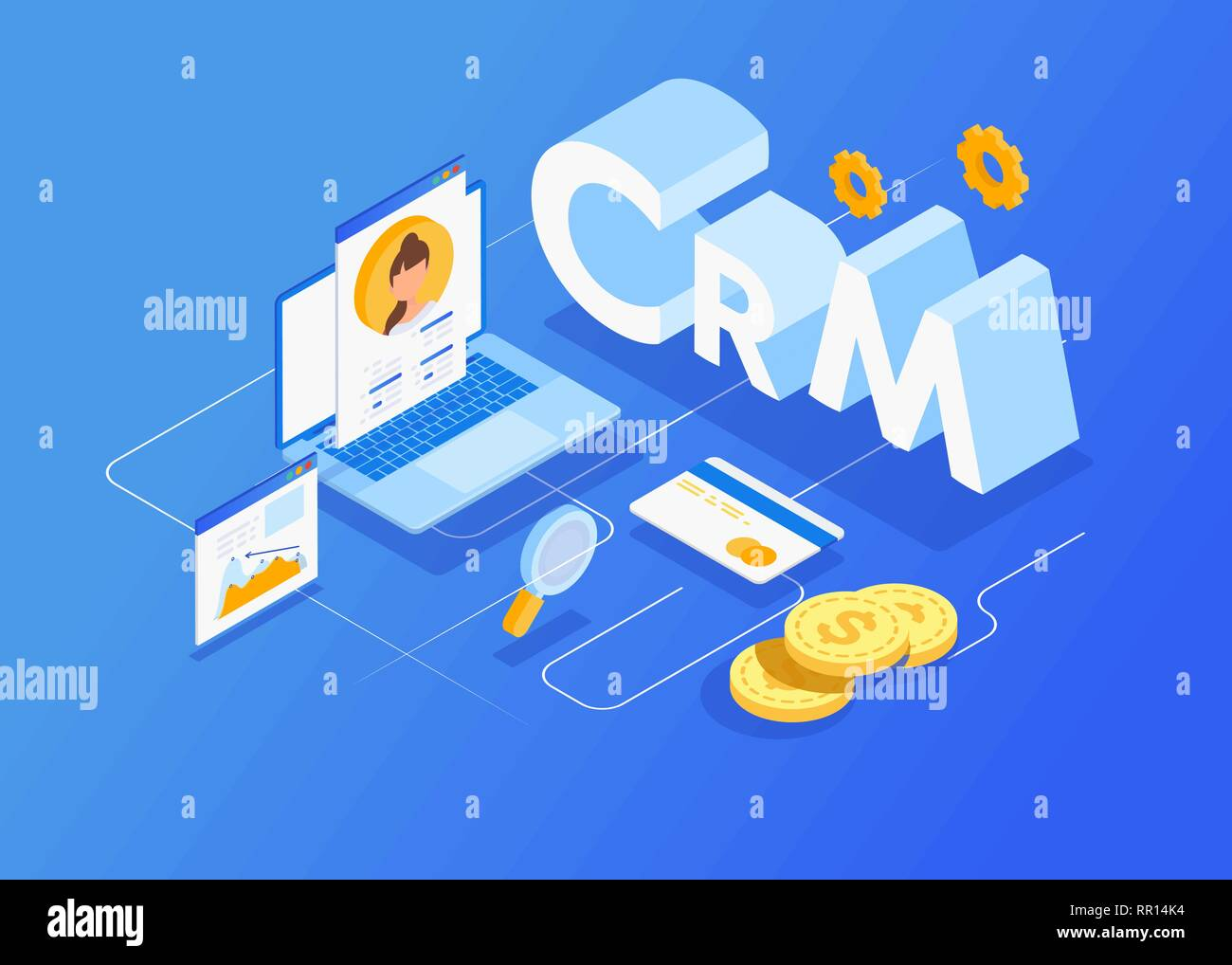 Isometric customer relationship management concept background. Company interaction approach. - Stock Image