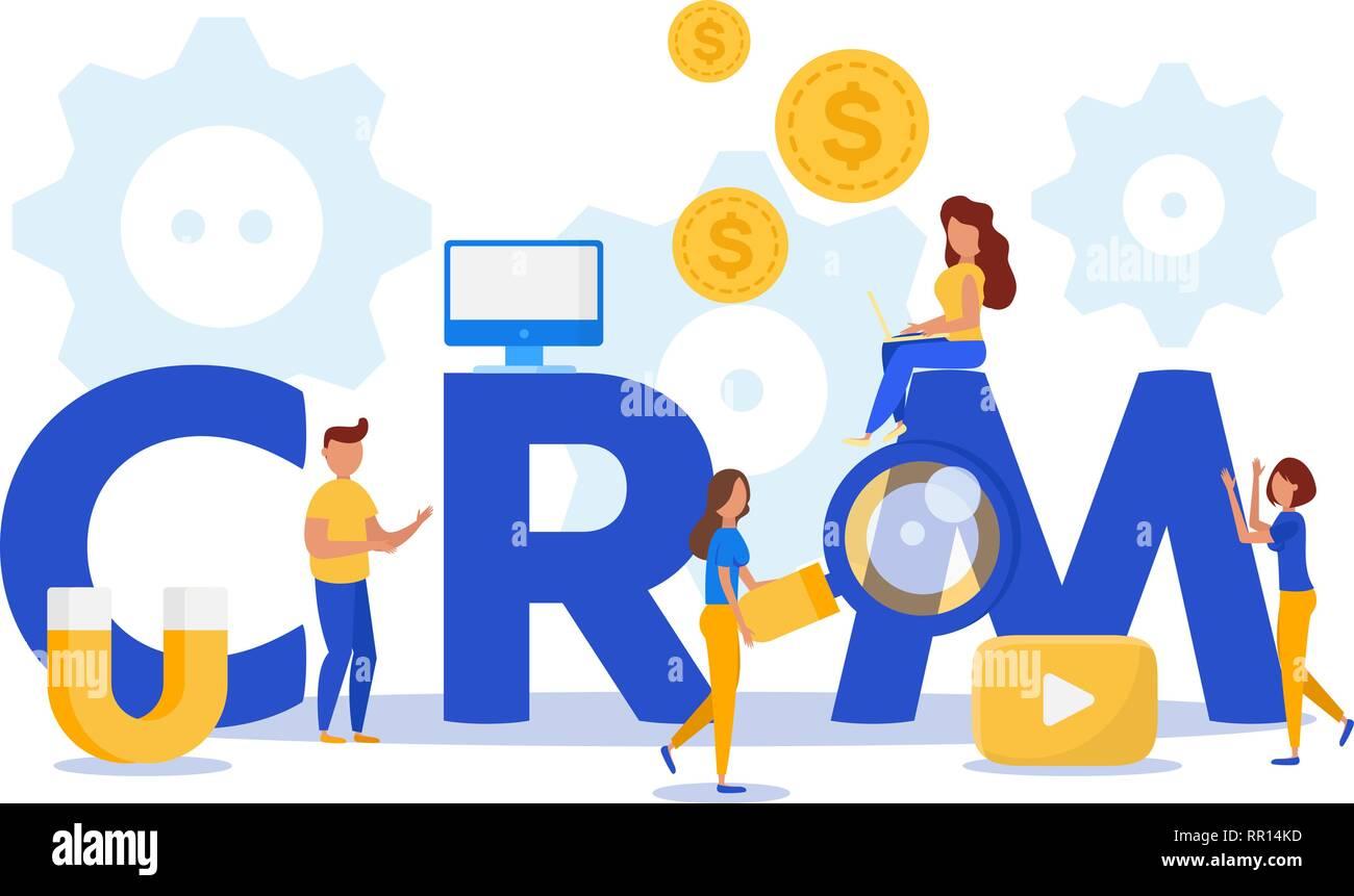 CRM. Customer relationship management concept. Teamwork. - Stock Image
