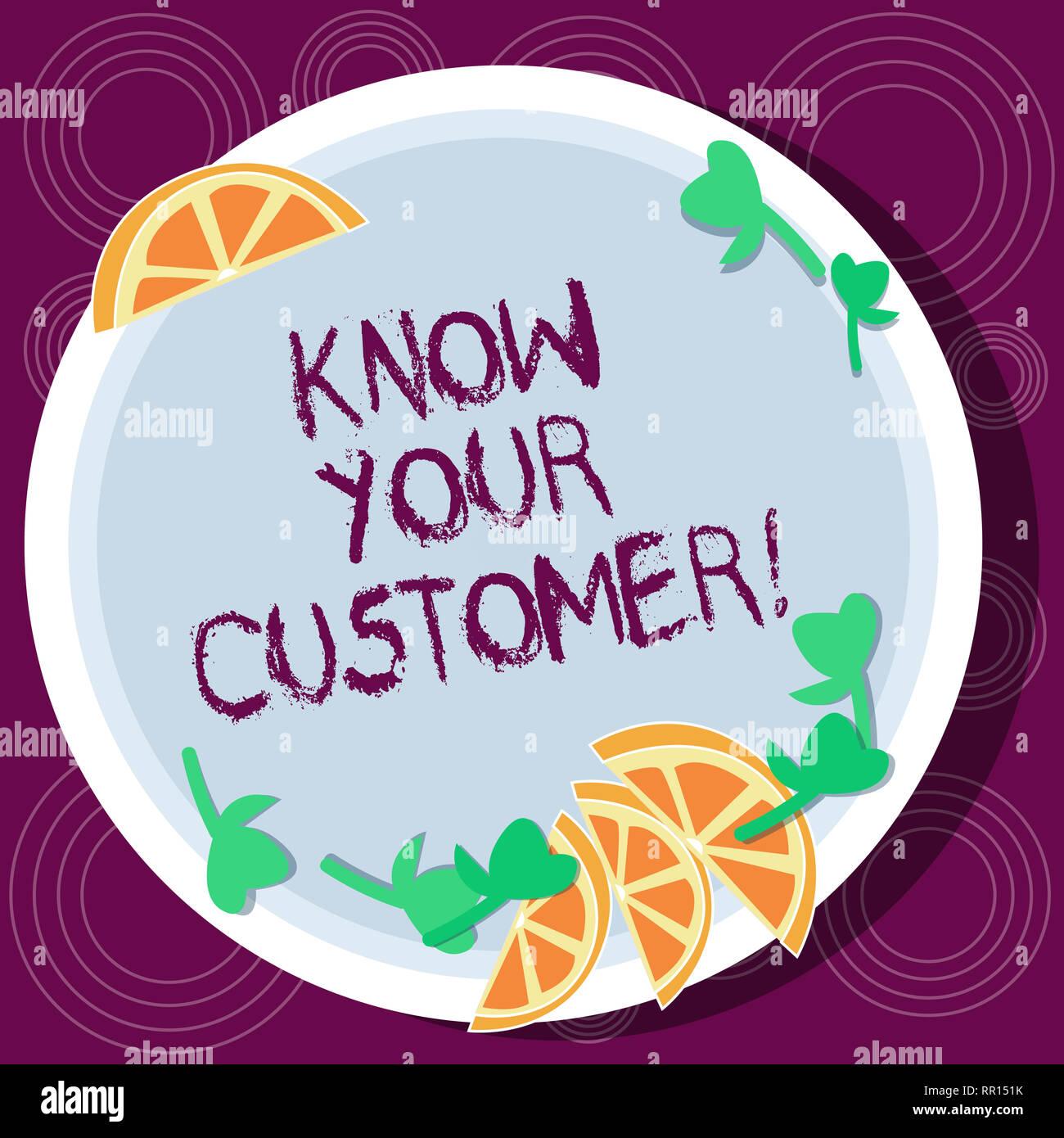 Word writing text Know Your Customer. Business concept for verifying identity clients and assessing potential risks Cutouts of Sliced Lime Wedge and H - Stock Image